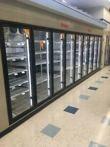 Walk In Combo Beer Cave 18 Glass Door Cooler And 6 Door Freezer Led Lights