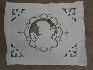 Antique Figural Lace Turn Of Last C 1910 Family Owned 19x24 White Cameo Style