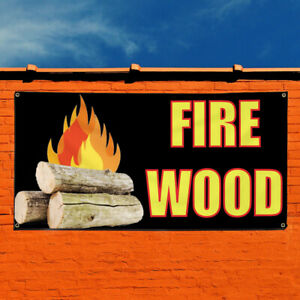 Vinyl Banner Sign Fire Wood 2 Business Firewood Marketing Advertising Black