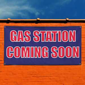 Vinyl Banner Sign Gas Station Coming Soon Business Marketing Advertising Navy