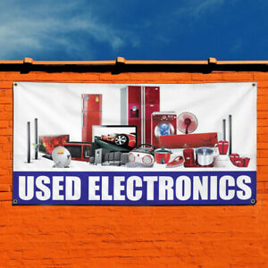 Vinyl Banner Sign Used Electronics Business Outdoor Marketing Advertising White
