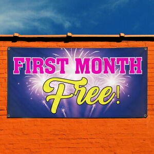 Vinyl Banner Sign First Month Free 2 Ads Marketing Advertising Purple
