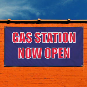 Vinyl Banner Sign Gas Station Now Open Business Marketing Advertising White
