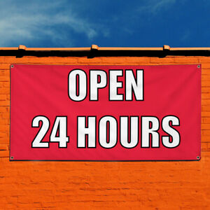 Vinyl Banner Sign Open 24 Hours 1 Style D Business Marketing Advertising Red