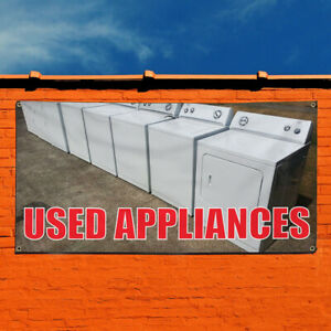 Vinyl Banner Sign Used Appliances Business Outdoor Marketing Advertising Grey