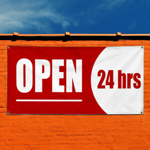 Vinyl Banner Sign Open 24 Hrs Business Open 24 Hours Marketing Advertising Red
