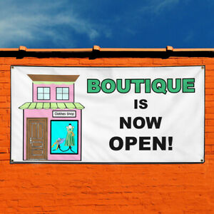 Vinyl Banner Sign Boutique Is Now Open Business Marketing Advertising White