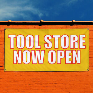 Vinyl Banner Sign Tool Store Now Open Business Marketing Advertising Yellow