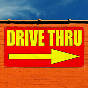 Vinyl Banner Sign Drive Thru With Right Arrow Style T Marketing Advertising Red