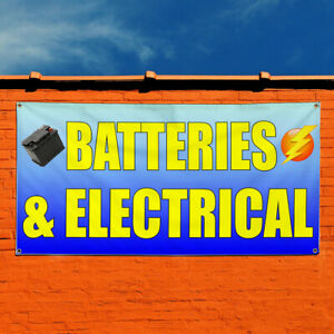 Vinyl Banner Sign Batteries And Electrical Outdoor Marketing Advertising Yellow