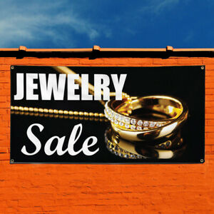 Vinyl Banner Sign Jewelry Sale Business Style U Marketing Advertising Golden