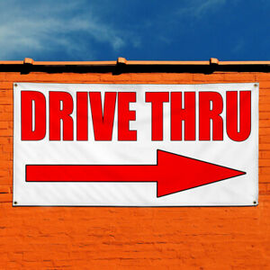 Vinyl Banner Sign Drive Thru With Right Arrow Style S Marketing Advertising Red