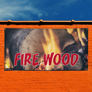 Vinyl Banner Sign Fire Wood 1 Business Firewood Marketing Advertising Blue