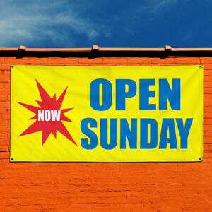 Vinyl Banner Sign Now Open Sunday Business Business Marketing Advertising Blue