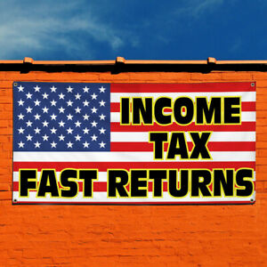 Vinyl Banner Sign Income Tax Fast Returns 1 Marketing Advertising Black