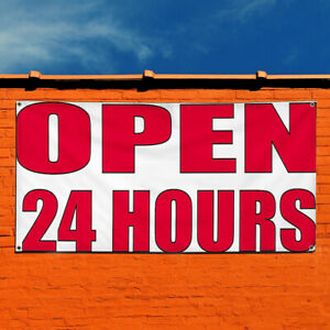 Vinyl Banner Sign Open 24 Hours 2 Business Outdoor Marketing Advertising White