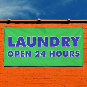 Vinyl Banner Sign Laundry Open 24 Hours Business Marketing Advertising Green