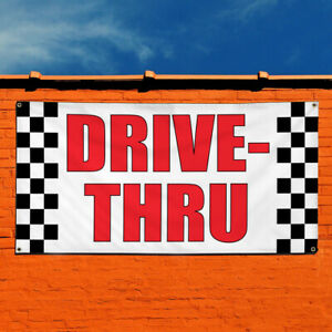 Vinyl Banner Sign Drive thru Business Drive Thru Marketing Advertising White