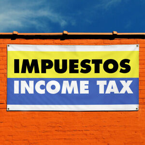 Vinyl Banner Sign Impuestos Income Tax Business Marketing Advertising Yellow
