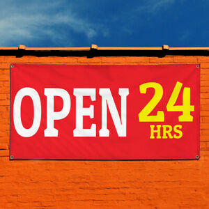 Vinyl Banner Sign Open 24 Hrs 2 Business Outdoor Marketing Advertising Red