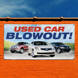 Vinyl Banner Sign Used Car Blowout Auto Car Vehicle Style R Outdoor Aqua blue