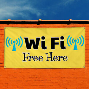 Vinyl Banner Sign Wi Fi Free Here Business Outdoor Marketing Advertising Yellow