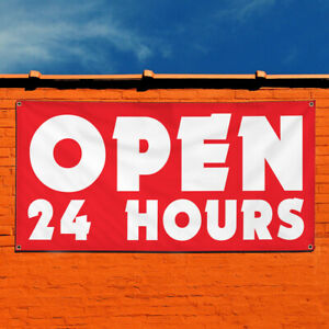 Vinyl Banner Sign Open 24 Hours 1 Style B Business Marketing Advertising Red