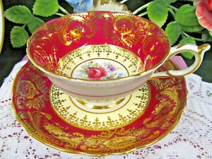 Paragon Tea Cup And Saucer Red Gold Gilt Floral Pattern Teacup Wide Mouth Set