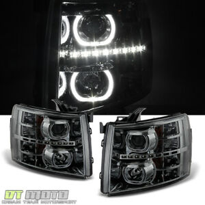 Smoked 2007 2013 Chevy Silverado 1500 2500hd Smd Led Halo Projector Headlights