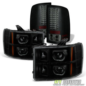 Black Smoke 2007 2013 Gmc Sierra 1500 Smd Halo Headlights led Tail Lights Lamps