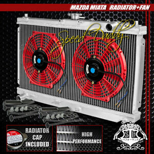 Full Aluminum 2 Row Core Radiator 2 X 10 Red Cooling Fan 99 05 Mazda Miata Mx 5
