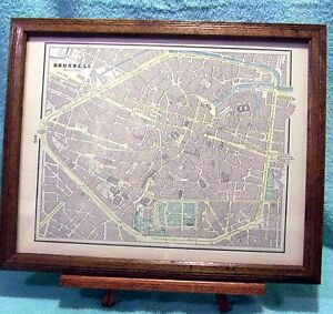 Antique Framed Map Of Brussels Belgium With Hotels Excellent Condition
