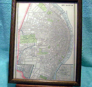 Antique Framed Map Of St Louis Mo Printed In 1889 Quite Detailed