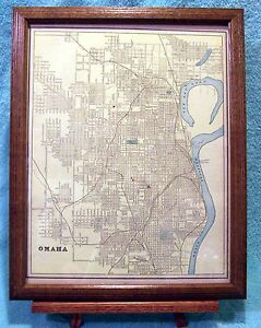 Antique Framed 1898 Map Of Omaha W Chicago Packing Prov Company Railroad