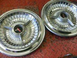 Late 50s Flipper Style Hubcaps Set Of 2