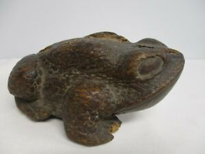 Antique Japanese Wood Carved Okimono Toad Frog
