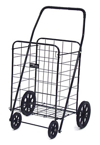 Narita Trading Ntc001bk Black Jumbo 4 wheel Folding Shopping Cart