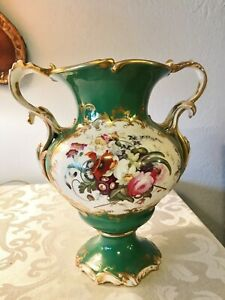 Antique Old Paris Ceramic Porcelain 19th C Apple Green Ground Vase 1830 50