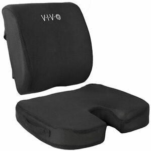 Vivo Black Memory Foam Seat Bottom And Back Cushion Combo For Office Chair