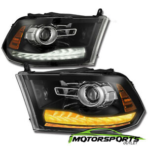 New Ram Style 2009 2018 Dodge Ram Polished Black Led Drl Projector Headlights