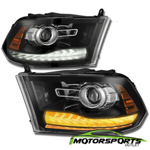 Polished Black New Ram Style 2009 2018 Dodge Ram Led Drl Projector Headlights