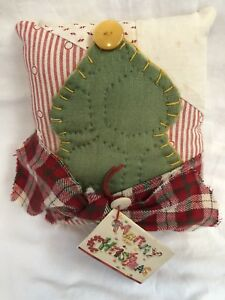 Primitive Pillow With Tree Of Vintage Quilt Handmade Ooak Christmas Farmhouse