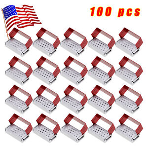100pcs Dental Burs Holder Block Disinfection Box Aluminium 20 Holes Metal Red Us