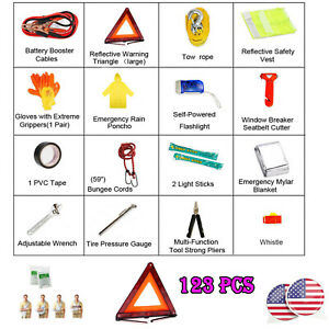 Well Packaged Emergency Kit Car Roadside Assistance Safety Complete Tools Kit