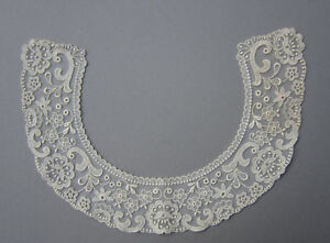 Antique Ivory Lace Collar Embroidered Netting Floral 2 5 8 Width