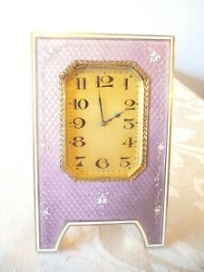 Antique Art Deco Guilloche Enamel Traveling Clock In Purple Color