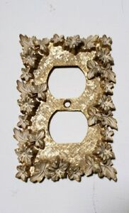 Florenta Of California Brass White Flowers Leaves Outlet Cover