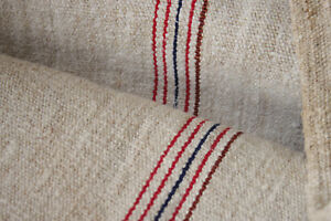 Grain Sack Vintage W Red Blue Stripes Handwoven European Grainsack Feedsack