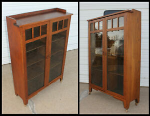 Antique Oak Mission Arts Crafts 2 Door Bookcase Cabinet W 8 Adjustable Shelves