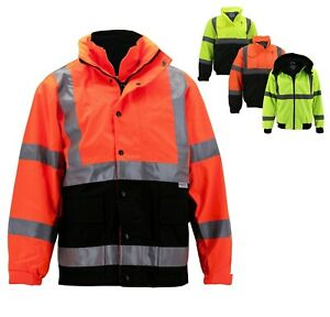Men s Class 3 Safety High Visibility Water Resistant Reflective Neon Work Jacket
